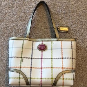 Coach Peyton Tattersall Top Handle Tote Purse